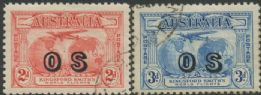 Australian Official Stamp SG O123-4 1931 Kingsford Smith's Flight pair (AOG/377)